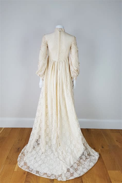 antique edwardian style cream wedding dress  lace