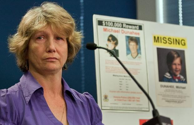 Crystal Dunahee speaks at a press conference at Victoria police headquarters regarding the disappearance of her son Michael. (March  22, 2011)