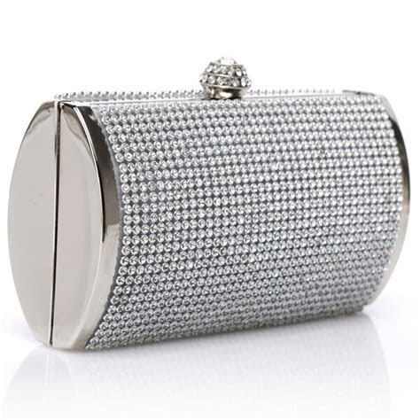 Elegant Silver Rhinestone Clutch Bag Wedding Evening Party