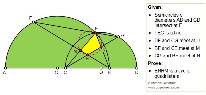 Geometry Problem 1453: Two Semicircles, Cyclic Quadrilateral, Concyclic Points, iPad apps, Tutoring.