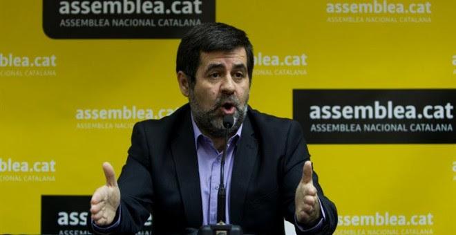 Jordi Sánchez, presidente de la Asamblea Nacional Catalana, en la rueda de prensa. EFE/Quique García