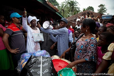 Sierra Leone's last current  Ebola patient receives a survivor package from UNICEF.
