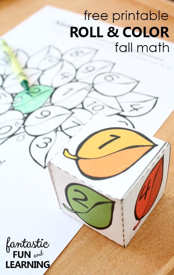 Free Printable Roll and Color Fall Math - Fantastic Fun ...
