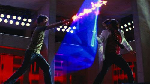 Scott Pilgrim fights one of the Seven Evil Exes of Ramona Flowers.