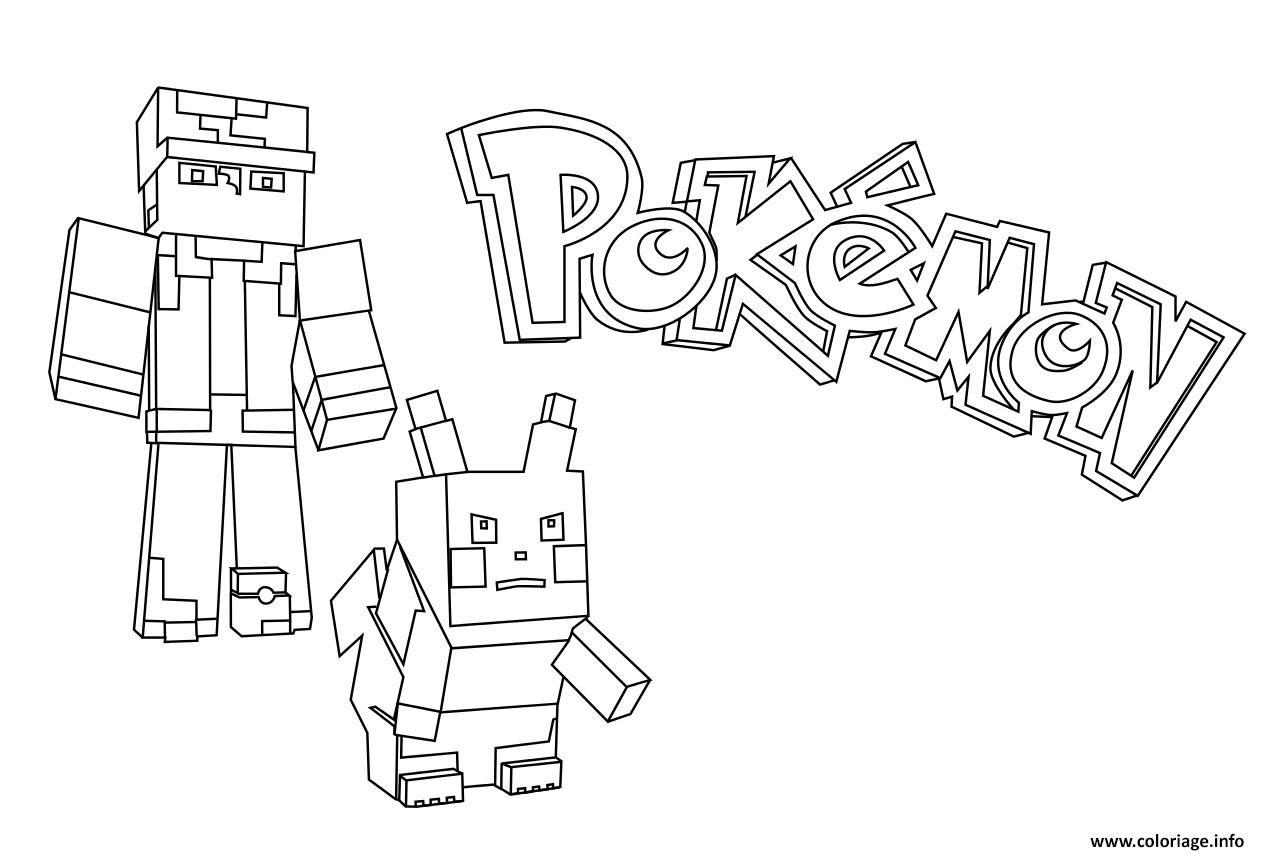 Coloriage Minecraft Pokemon Dessin  Imprimer