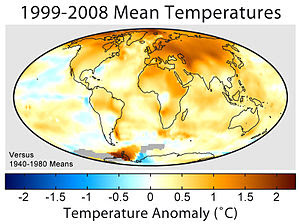 Mean surface temperature change for the period...