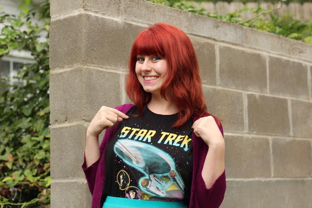 Star Trek Shirt and Purple Cardigan