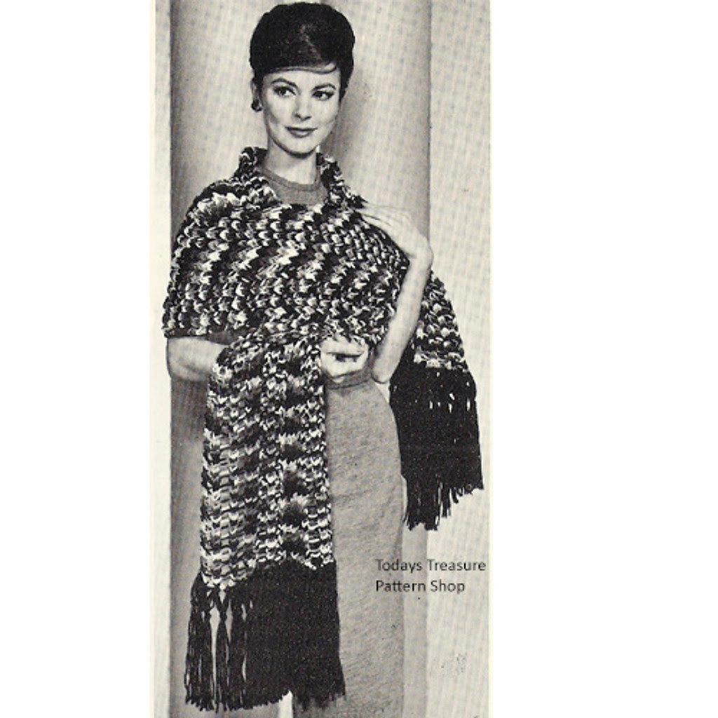 Crazy Stole Knitting Pattern, Vintage 1960s