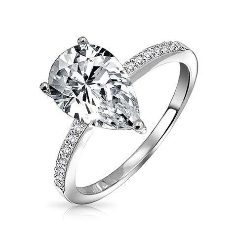 Pear Shaped 2.25 Carat CZ Solitaire Engagement Ring 925 Silver