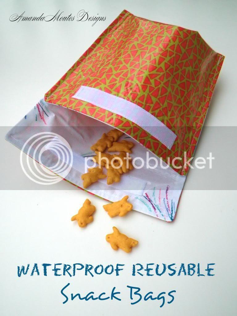 Waterproof Reusable Snack Bags Tutorial by Amanda Moutos Designs