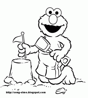 elmo on the beach  free colouring pages  pinterest