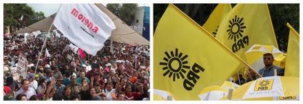 Simpatizantes de Morena y del PRD en diferentes mítines. Fotos: Benjamin Flores y Miguel Dimayuga