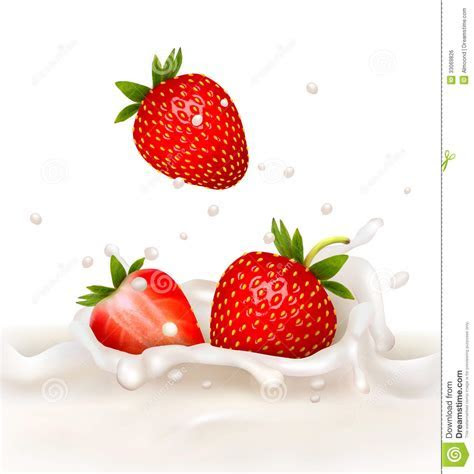 Red Strawberry Fruits Falling Into The Milky Splas Royalty