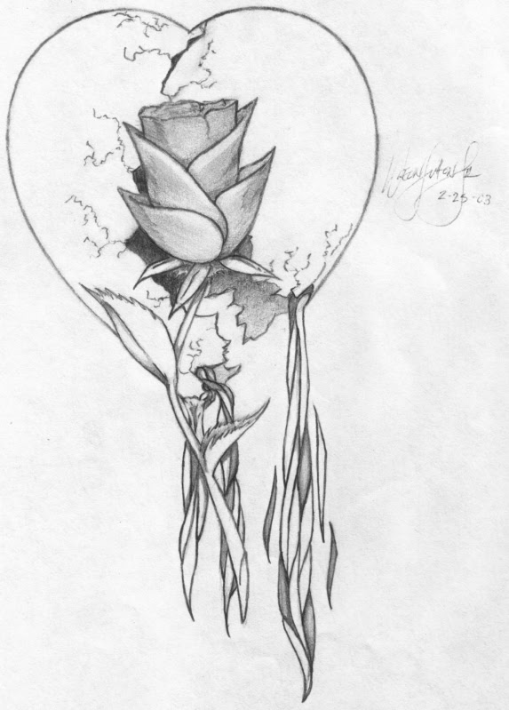 Heart And Rose Drawing Pencil Sketch Colorful Realistic Art