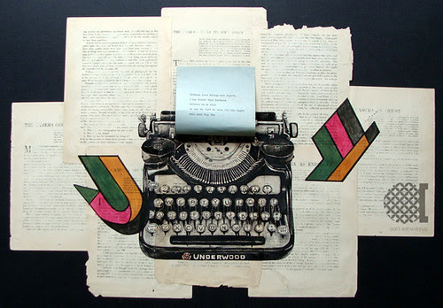 mixed media-typewriter illustration