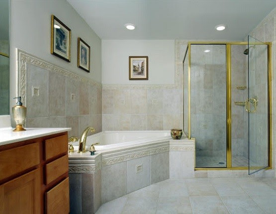 Modern Basement Bathroom Designs with Shower and Bathtub