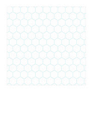 4a Turquoise Stitched Hexagons LARGE SCALE - 7x7 inch