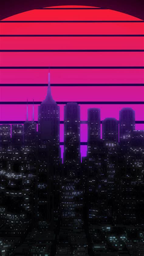 wallpaper city lights moon cityscape skyscrapers skyline neon retro hd creative graphics