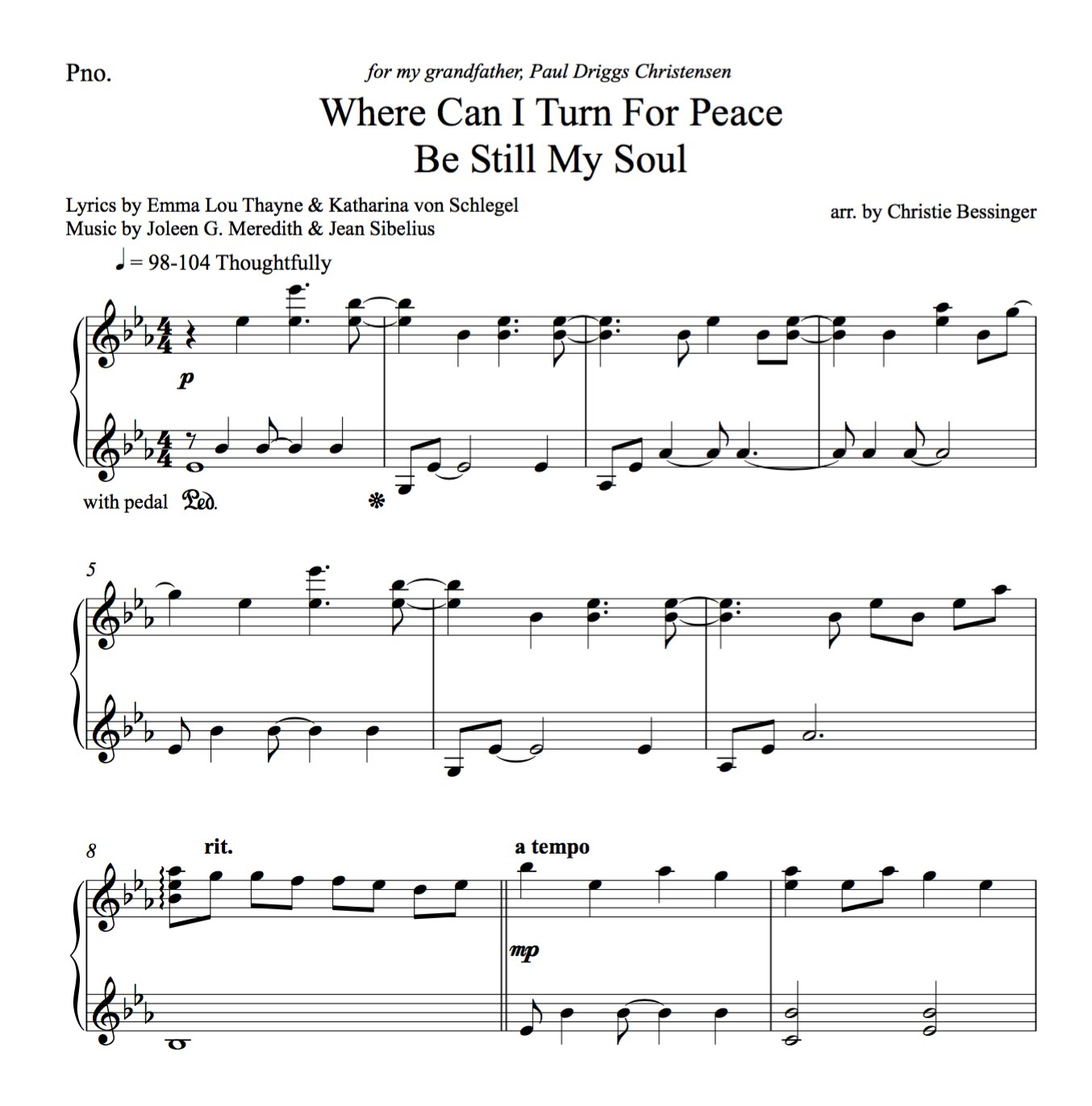 Where Can I Turn For Peace Be Still My Soul Piano Solo