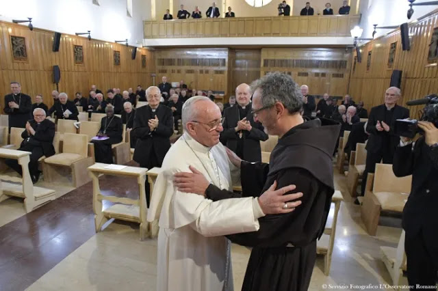 Pope Francis thanks Fr. Giulio Michelini at the end of his Lenten retreat in Ariccia March 10, 2017. L'Osservatore Romano.