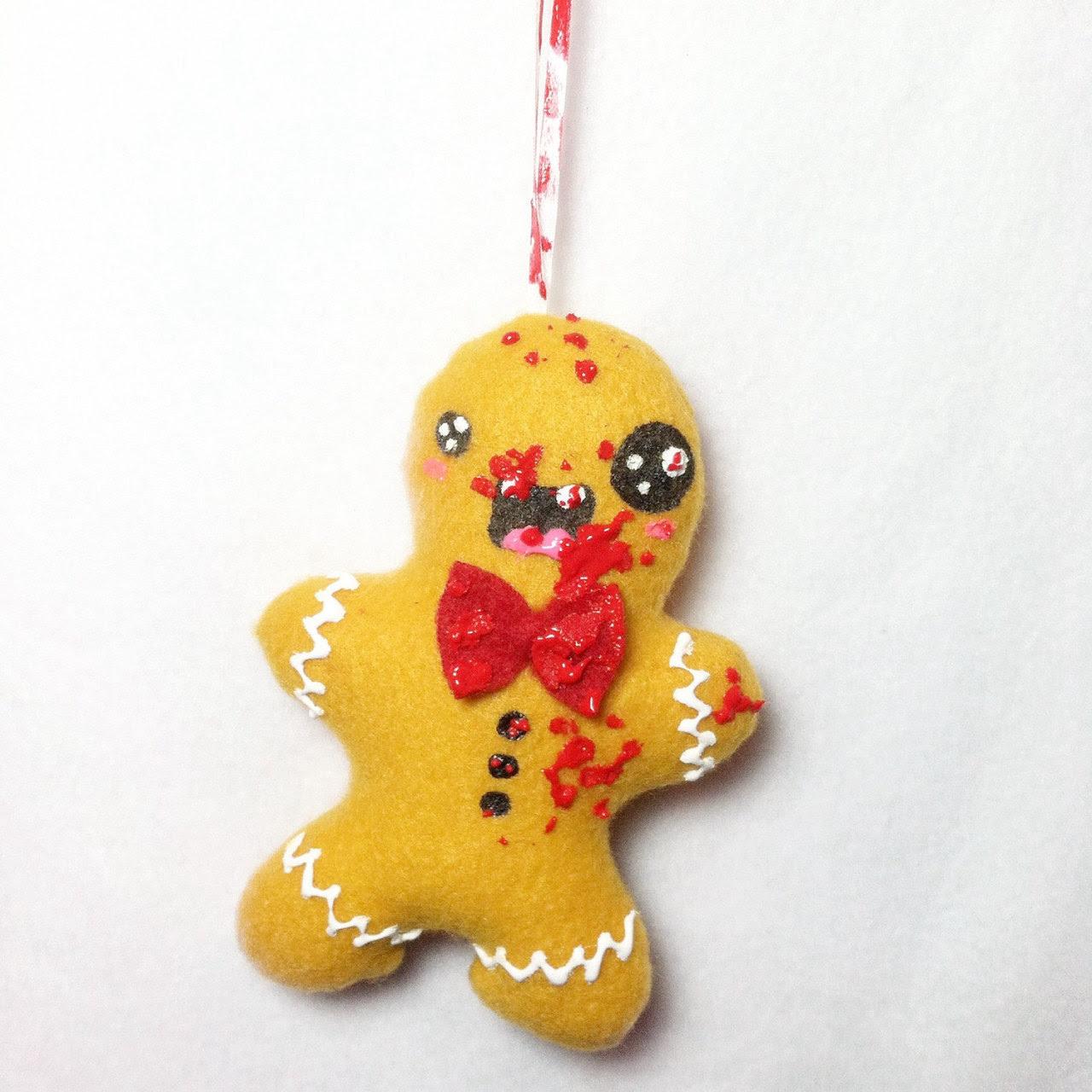 Zombie Gingerbread Man Plush Christmas Ornament