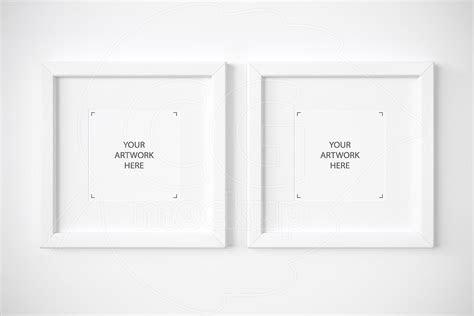 set   square white frames mockup print mockups