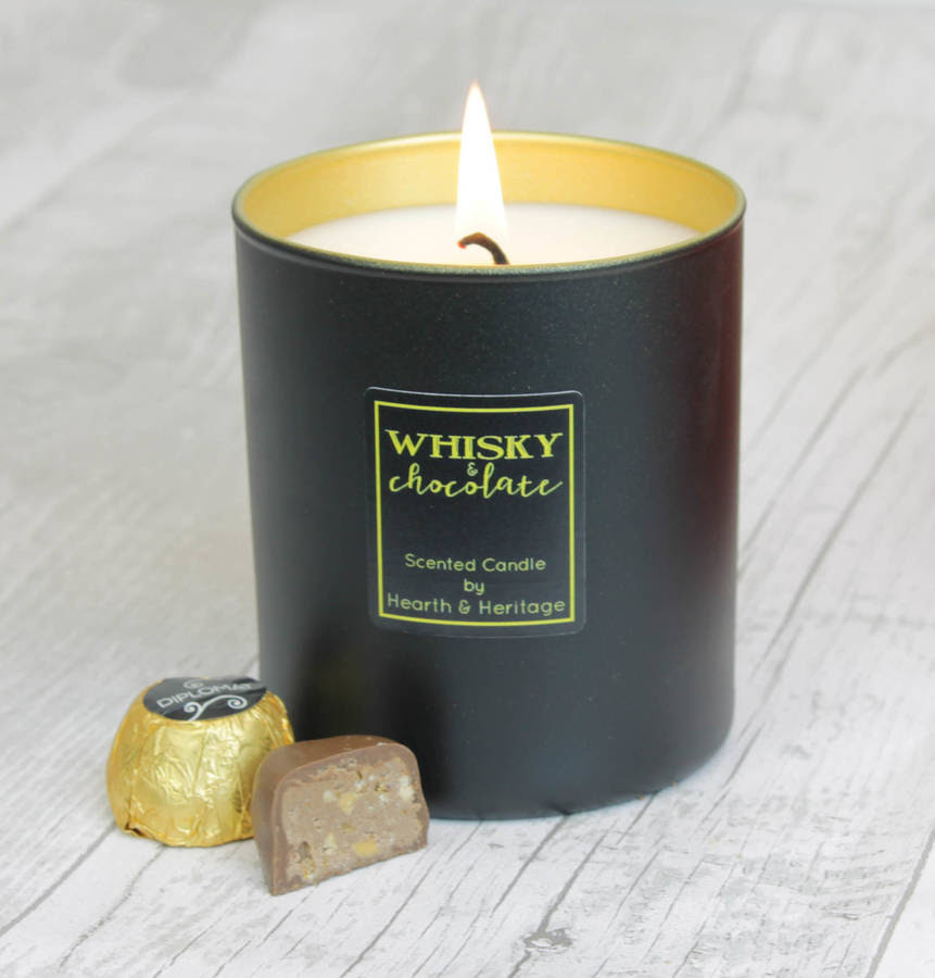 chocolate scented candle with a hint of whisky by hearth ...