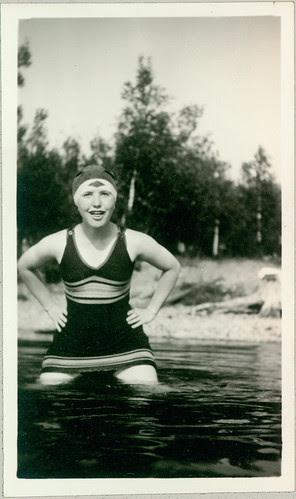 old bathing garb girl in pool