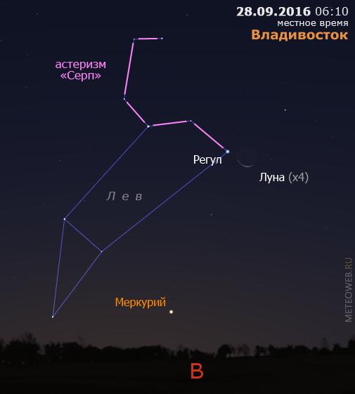 Убывающая Луна и Меркурий на утреннем небе Владивостока 28сентября 2016 г.