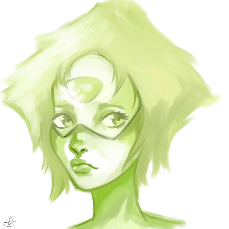 Peridot from Steven Universe.  One of my late night doodles.