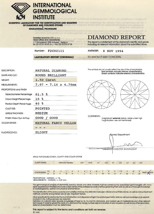 Foto 9, NATURAL FANCY YELLOW DUNKEL-GOLD DIAMANT 1,50 CARAT IGI, D6187