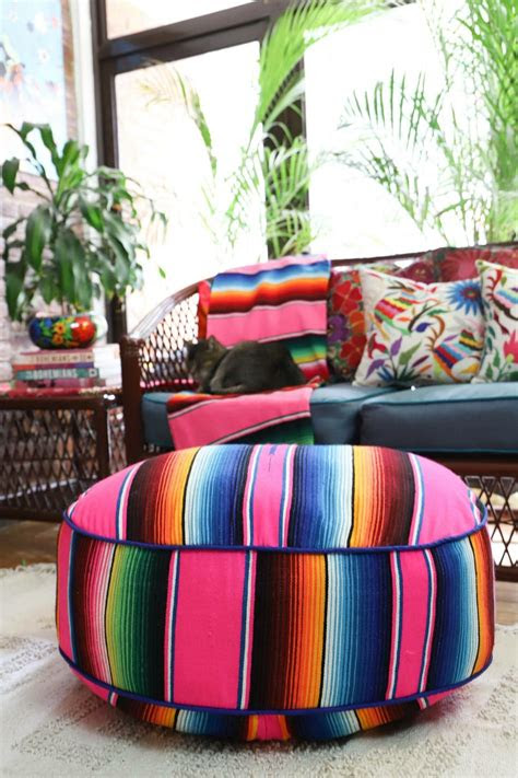 serape pouf mexican blankets  decor boho design