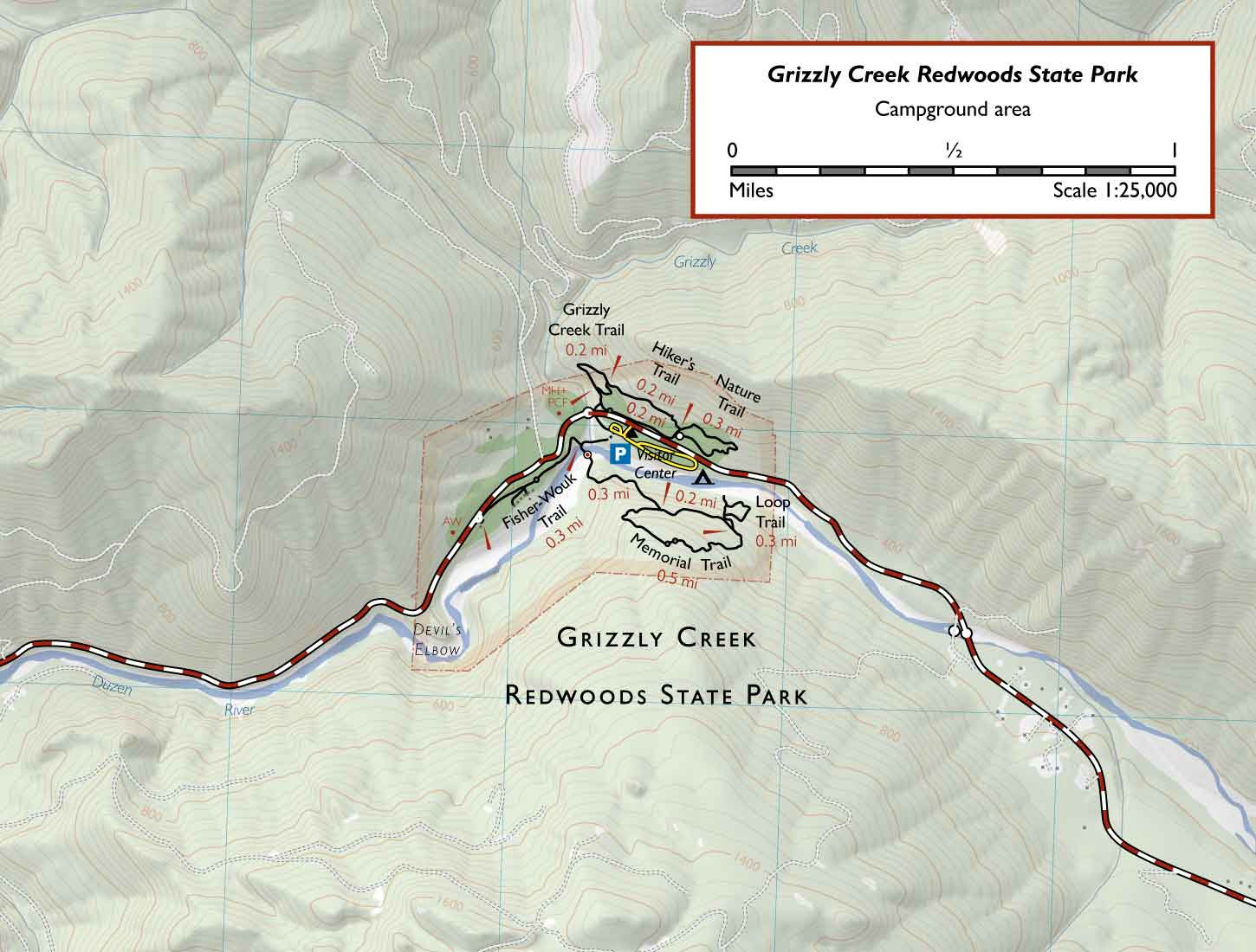 Grizzly Creek Redwoods State Park And Van Duzen County Park