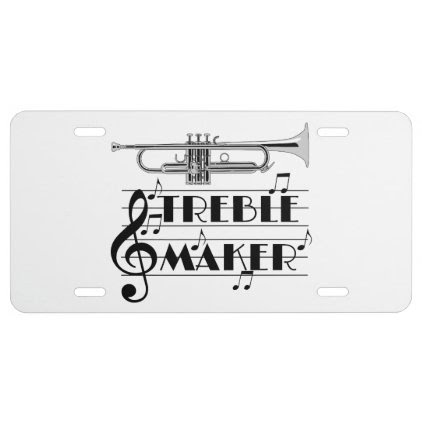 Trumpet Player Treble Maker License Plate