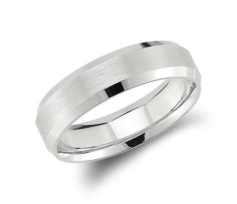 Beveled Edge Matte Wedding Ring in 14k White Gold (6mm