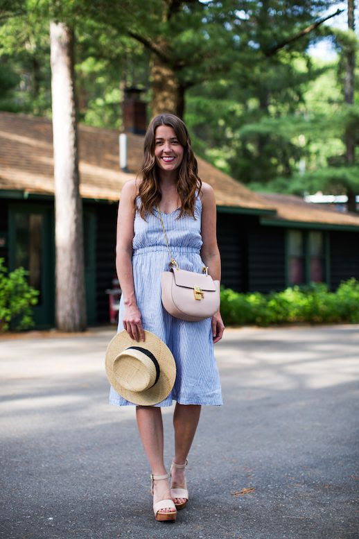 Le Fashion Blog 3 Striped Dresses 3 Ways Hat Wedges Chloe Bag Via Sequins And Stripes