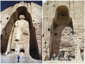 A combination photo of the 55-metre-high Buddha statue in Bamiyan, central Afghanistan in December 18, 1997 (left) and after its destruction on March 26, 2001. It has been ten years since the statue was destroyed by the Taliban on March 2, 2001. REUTERS/Muzammil Pasha, Sayed Salahuddin/Files (AFGHANISTAN - Tags: RELIGION POLITICS ANNIVERSARY)