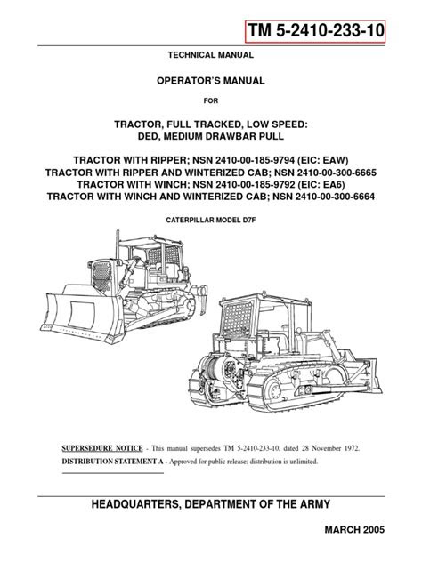 Caterpillar Model d7f Operators Manual | Internal