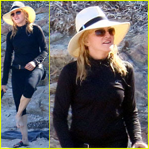 Madonna Dresses in All Black at the Beach
