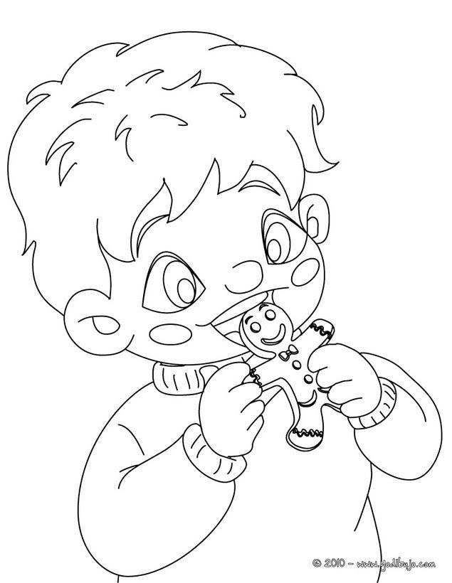 Dibujos Para Colorear Niño Comiendo Galletas De Jengibre Es