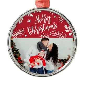 Merry Christmas Branches Holiday Photo Ornament