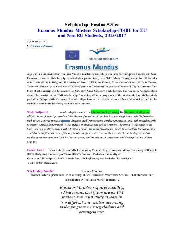 Cover letter for erasmus mundus scholarship