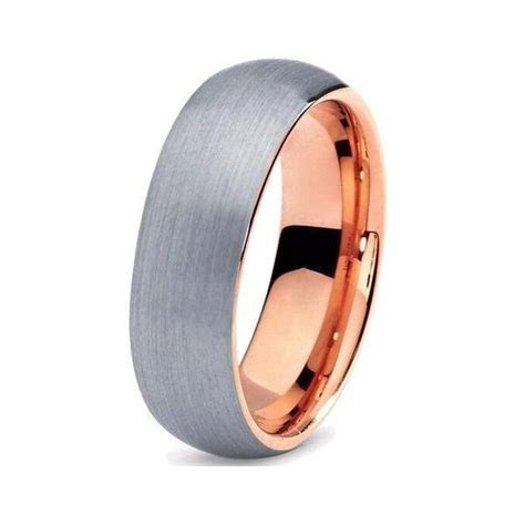 Rose Gold Brushed Tungsten Band   Ring to Perfection