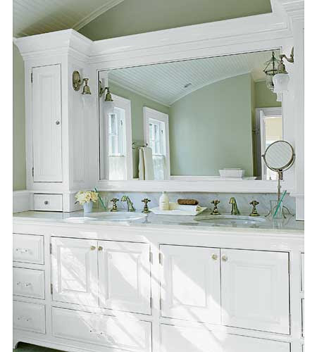 custom bathroom cabinets with crown molding in renovated Georgian