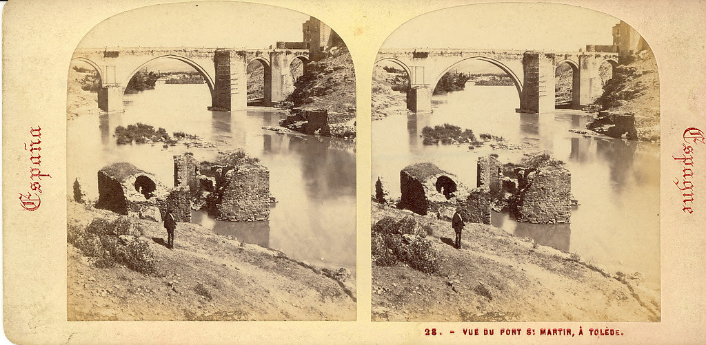 Fotografía estereoscópica de Toledo. Puente de San Martín