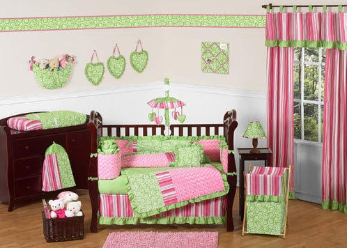 Olivia Girls Boutique Pink and Green Baby Bedding - 9pc ...