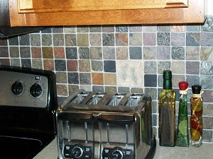 Leaf Imprint Tiles on Backsplash