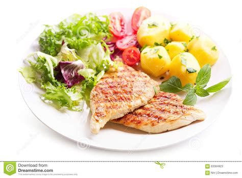 plate  grilled chicken breast  vegetables stock