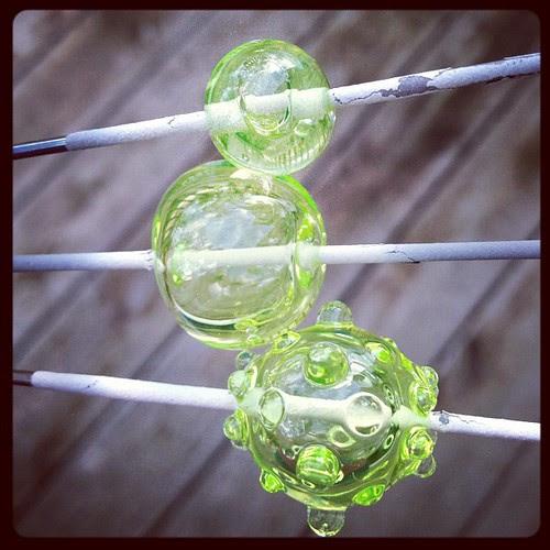 Vaseline glass in natural light