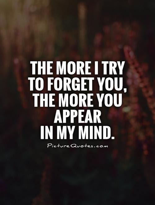 The More I Try To Forget You The More You Appear In My Mind